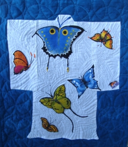 Hand dyed fabric, hand quilted by Penelope and hand painted by Daniel
